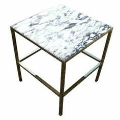 Brass SideTable with Marble Top