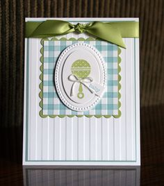 sweet handmade baby card ... like the formal arrangement and the blue plaid with green accents ... Stampin' Up!