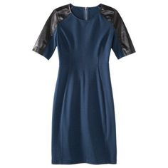 Mossimo® Women's Elbow Sleeve Ponte w/Faux Leather Dress - Assorted Colors