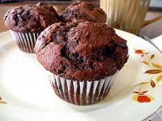 TRY THIS ONE FIRST: Chocolate-Chocolate-Chunk Muffies by Brown Eyed Baker (NOTE: This is the original recipe; Triple Choc Muffies just added 1/2 c semi-sweet choc chips to this recipe