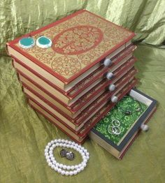 Book Jewelry Box ANTIQUE SET Upcycled recycled by WreckedWritings, $55.00