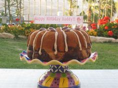 Marble Bundt cake.  Make cute little birthday banner on cake by attaching paper to toothpicks and sticking it in on top.   Birthday/anniversary/congrats/thanks you....Message without having to write on cake !