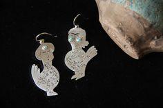 ALANGOO-Handmade silver earrings-Persian calligraphy. Khonok an dam
