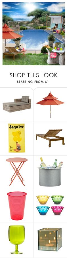 """My Summer Pool"" by lavishlulu ❤ liked on Polyvore featuring interior, interiors, interior design, home, home decor, interior decorating, OKA, Pier 1 Imports, Berga Form and CB2"
