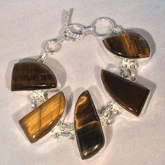 """Huge Gold Tigers Eye Handmade Sterling Silver Bracelet 7"""" by Bella Jewels on Opensky"""