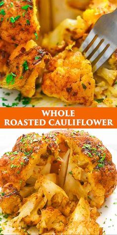 Whole Roasted Cauliflower, Cauliflower Recipes, Roasted Califlower, Amazing Food Videos, Vegetarian Recipes, Healthy Recipes, Healthy Groceries, Roast Recipes, Side Dish Recipes