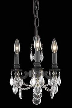 Elegant Lighting 9103D10DB Lillie 3 Light Candle-Style Pendant in Dark Bronze Fi Royal Cut Clear Crystal Indoor Lighting Pendants
