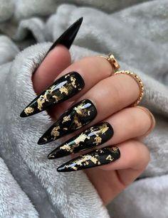 Black Gold Nails, Gold Acrylic Nails, Black Stiletto Nails, Black Coffin Nails, Gold Nail Designs, Acrylic Nail Designs, Nails Design, Art Designs, Design Ideas