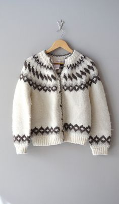 vintage Sumburgh fair isle cardigan old Icelandic pattern Knitting For Kids, Baby Knitting, Clothing And Textile, Knitwear Fashion, Fair Isle Knitting, Vintage Sweaters, Wool Cardigan, Crochet Designs, Knit Patterns
