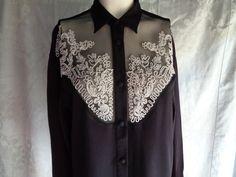 Vintage blouse black crepe white  soutache by vintagewayoflife