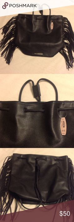 💕 VICTORIA SECRET Black Leather Drawstring Tote💕 💕Beautiful VS black leather draw-string tote w/ fringes. Super chic. Can be used as a backpack or shoulder bag... NWT💕 Victoria's Secret Bags Backpacks