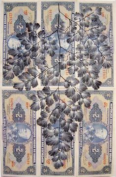 From Fiona Hall's Leaf Litter series Leaves printed onto currencies. Collage Drawing, Collage Art, Collages, Venice Biennale, Pen And Watercolor, 2d Art, Australian Artists, Mail Art, Art Studios