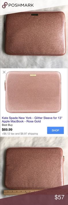"""Kate Spade laptop sleeve Yay I got one in!💞ONLY ONE💞Make portability little more glamorous with this kate spade new york Glitter KSMB-013-RGG sleeve, which is designed to fit your 13"""" Apple MacBook. The vegan leather exterior and sleek inner lining safeguard your laptop in style. 💕BRAND NEW NEVER USED💕🚫NO TRADES LOW BALL OFFERS GET BLOCKED🚫 kate spade Accessories Laptop Cases"""