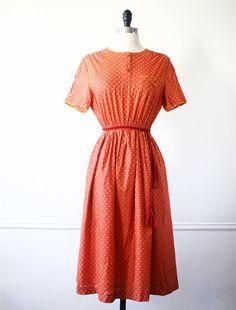 Japanese Vintage Dress Japanese Dress Polka Dot Dress Orange Coral Dress Picnic Dress