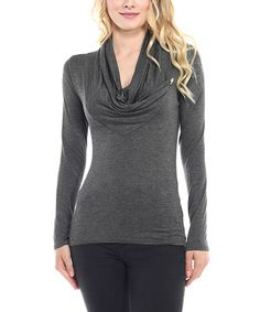 Love this Charcoal Cowl Neck Tunic on #zulily! #zulilyfinds