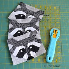 Sew Fresh Quilts: Let's Bee Social # 125 Raccoon quilt block http://sewfreshquilts.blogspot.com/2016/05/lets-bee-social-125.html?amp;utm_medium=email&utm_campaign=Feed:+SewFreshQuilts+(Sew+Fresh+Quilts)