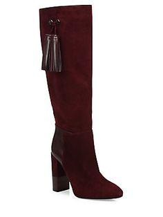 Aquatalia Evelina Tall Tassel Suede & Leather Boots<br>