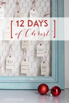 12 days of CHRIST gift idea with a tag and gift idea for each day of Christmas.