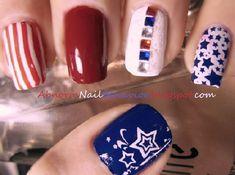Long Nail Designs, Different Nail Designs, Nail Art Designs, Green Nails, Blue Nails, Eagle Nails, Firework Nail Art, American Flag Nails, Gradient Nail Design