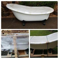 New slipper bath arrives. Bathroom renovation. #slipperbath #ballandclaw #renovation