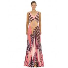 This maxi dress is cut from geometric printed chiffon and features a tonal pink bodice underlay. The style is loose fitting through the bodice and falls to a pleated maxi skirt. Pleated Maxi, Studio Portraits, Chiffon Dress, Bodice, Fancy, Prints, Skirt, Dresses, Style