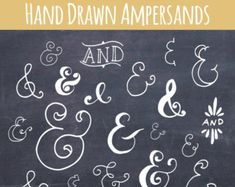 Chalkboard Ampersand Symbol Clip Art // Photoshop Brushes // Hand Drawn Calligraphy // And Symbol // Vector Word Art // Commercial Use