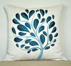 Peacock Pillow Cover, Teal Pillow Cover, Decorative Pillow, Throw Pillow Cover, Beige Linen Pillow Teal Cream Embroidery, Couch Pillow Cover