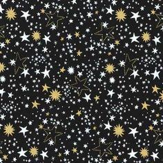 Michael Miller - Cat's Cradle - Night Lights in Black Metallic by Bobbie Lou's Fabric Factory