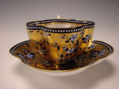 Antique Coalport China Aesthetic Cobalt Blue Gold Gilt Cup Saucer from hideandgokeep on Ruby Lane