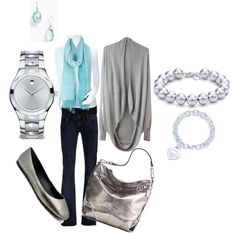 Spring silver & aqua - today's outfit