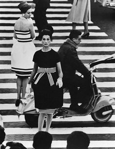 Vintage black and white stripey beautifulness. (With a Vespa for good measure.)