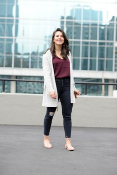 d5c9bd9d4397 A Madewell Cardigan Outfit For Lazy Days. Lazy Day OutfitsCasual Fall OutfitsBurgundy  TopKendall ...