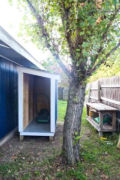 How to Build a Small Wooden Shed This small wooden shed is big enough to store a lawn mower and some gardening supplies. We'll show you how to build one just like it in your backyard. Building A Storage Shed, Kayak Storage, Storage Shed Plans, Backyard Sheds, Backyard Landscaping, Garden Sheds, Greenhouse Interiors, Diy Shed Plans, Wood Shed
