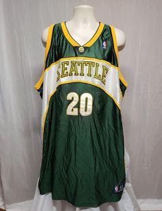b84493f1a76 Authentic NBA Reebok Seattle Supersonics Gary Payton  20 Mens Green Sz 60  Jersey  Reebok  SeattleSupersonics