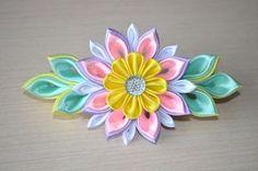 Мастер класс из лент Заколки своими руками DIY ribbon flower kanzashi ha...