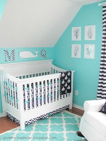 Sea Turtle Baby Footprint Silver Lining Decor Nautical Nursery Reveal Aqua White