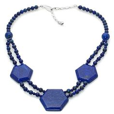 Jay King Lapis Beaded Geometric Necklace