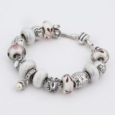 Charms Beads - white murano glass silver plated best friend butterfly spacer set fits beaded bracelet fit all brands Image.
