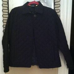 Ralph Lauren black quilted coat Ralph Lauren black quilted coat with button front and side pockets. Only worn a couple times. Ralph Lauren Jackets & Coats