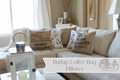 burlap coffee bag pillow tutorial- and gives great source on where to buy cheap coffee bags!