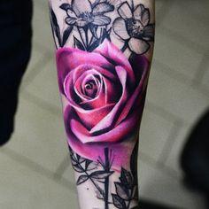Colorful rose tattoos for women Pretty Tattoos, Sexy Tattoos, Beautiful Tattoos, Body Art Tattoos, Sleeve Tattoos, Tattoos For Women, Tatoos, Finger Tattoos, Fake Tattoo