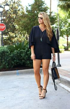 If you're looking for a dramatic entrance, look no further than this caped black romper! It delivers polish and the right amount of chic to your night out! Fall Fashion Outfits, Stylish Outfits, Spring Outfits, Autumn Fashion, Cute Outfits, Stylish Clothes, Black Romper Outfit, Short Outfits, Rompers