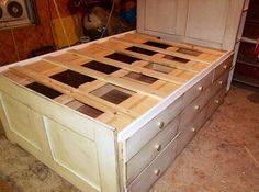 Queen Platform Bed With Storage. So many drawers on each side of the bed provide tons of under bed storage space to your room. http://hative.com/creative-under-bed-storage-ideas-for-bedroom/