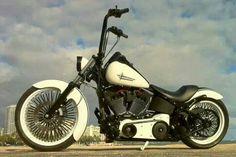 "Image via Harley Image via No-Limit-Custom ""Monza"" V-Rod by NLCpix Image via Bozzies custom bike design Motos Harley, Harley Bikes, Harley Davidson Motorcycles, Harley Softail, Chopper Cruiser, Bobber Chopper, Bobber Motorcycle, Cool Motorcycles, Custom Harleys"