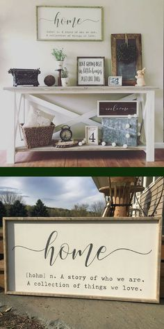 This is a beautiful famed sign and it will add a classic farmhouse touch to any space in the home | Home definition sign | home quote sign | home sign | A story of us sign | farmhouse wall decor | large framed wood sign | afflink
