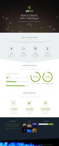 Pasquino Comunicación ha apostado por los 'must' de 2014 en el diseño web, con una página flat, modelo 'one page', responsive y menú 'sticky', para la empresa gallega de iluminación LED Ledicia.