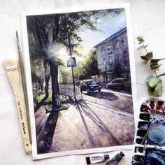 "4,013 Likes, 212 Comments - Anastasia Kústova  (@kustova_anastasia) on Instagram: ""My new watercolour of my lovely townHave a nice day!Солнышко Вам в ленту! И хоть эта весна совсем…"""
