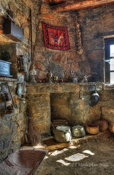 Old Lasithi Farmhouse, part of a traditional living museum exhibit in Crete, Greece