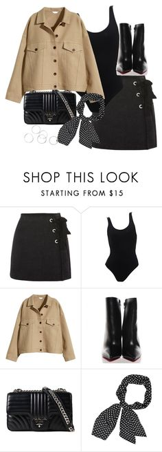 """Untitled #5620"" by theeuropeancloset ❤ liked on Polyvore featuring Topshop, H&M, Christian Louboutin and Prada"