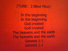 Genesis Bible Verse Song -- children can easily learn scripture when verses are set to familiar tunes. Children's Bible, Bible Verses, Learning Activities, Activities For Kids, Childrens Bible Songs, Scriptures For Kids, In The Beginning God, Preschool Bible, Genesis 1